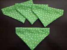 Slide on dog bandana size XS in lime green with white stars  polycotton