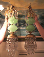 PR Vintage Sconce lamp Murano Jade Opaline Glass Bronze Brass crystal with beads
