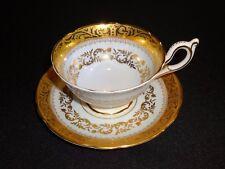 Gorgeous Porcelain Bone China Cup & Saucer E B Foley Heavy Gold Trim England