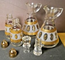 1950s Hazel Atlas Set of 4 Frosted Gold Wheat Vinegar & Oil Cruets Salt & Pepper