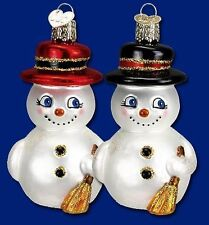 Snowman Ornament with Black Hat Glass Old World Christmas 24089 20
