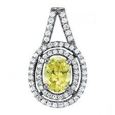 NEW 14k WHITE GOLD DIAMOND & LEMON TOPAZ OVAL DOUBLE HALO PENDANT NECKLACE