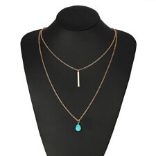 Fashion Chain Pendant  Turquoise double Gold Tone  Chain Stone  Necklace
