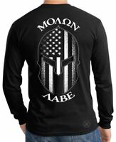 Spartan Helmet Molon Labe LONG SLEEVE T-SHIRT ~ Patriot USA Flag Tee ~ GUNS