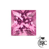 BJC® Loose Natural Pink Sapphire Princess Cut Multiple Sizes Natural Stones