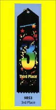 "3rd Place Award Ribbon carded & string, 2""x8"" LOT OF 10"