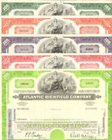Atlantic Richfield Company > ARCO oil & gas > lot of 5 stock certificates share