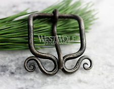 Hand-Forged Viking Belt Buckle with Curled Spirals - Norse/Celtic/Medieval/Steel