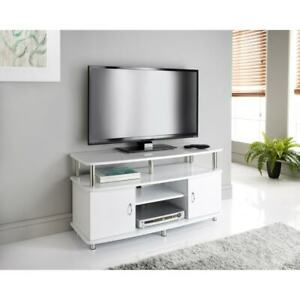 2 Door Wide TV Unit With 4 Shelves TV Stand With 2 Storage Cupboards-White