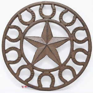 Cast Iron Star Horseshoe Trivet Kitchen Wall Decoration