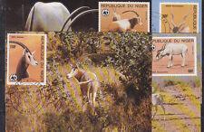 v1901 Niger/ WWF 1985  Antilopen   MiNr 941/44 auf 4 MaxiCard