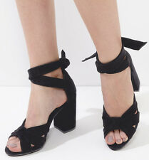 £45 NEW LOOK SIZE 3 4 5 BLACK REAL LEATHER SUEDE ANKLE STRAP TIE SHOES SANDALS