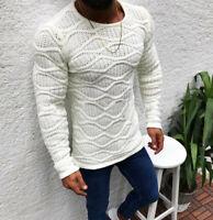 Men Winter Warm Cable Knit Sweater Stripe Crew Neck Long Sleeve Pullover Outwear