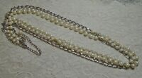 LONG MULTI STRAND FAUX PEARL & SILVER TONE CHAIN BEADED NECKLACE 46 INCH