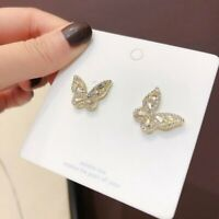 Women's Gold Butterfly Crystal Ear Hoop Earrings Drop Dangle Jewelry Gift New
