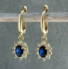 2 Ct Oval Blue Sapphire & Sim Diamond Drop & Dangle Earrings 14K Yellow Gold Fn