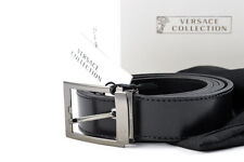 Mens VERSACE V910189 Black Leather Cut To Size Belt 120 cm 32 34 36 38 40 42 NWT