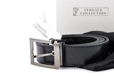 Mens VERSACE V910189 Black Leather Cut To Size Belt 120 cm 32 34 36 38 40 42 NWT