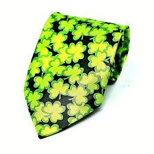 Lucky Shamrocks Mens Neck Tie St Patrick's Day 4 Leaf Clover Green Necktie