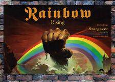 "Rainbow RISING poster DIO ""Stargazer"" Blackmore promo display w/ vinyl record lp"