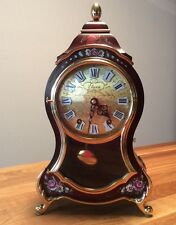 """SWISS NEUCHATEL ELUXA TOP CLOCK+CONSOLE~Vintage Wall/Mantle~ Burgundy~Approx 16"""""""