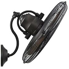 Wall Mount Fan Oscillating 3 Speed Mounted Damp Rated Indoor Outdoor Patio Deck