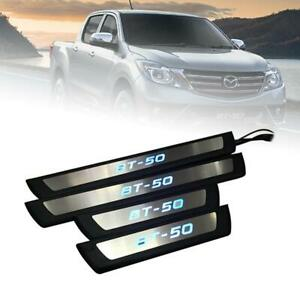 Scuff Plate Door Sill Chrome Black With Blue LED Fit Mazda BT50 BT-50 2012-18