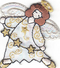 ANGEL-SPARKLY w/GOLD STAR STRING & HALO-CHRISTMAS-RELIGIOUS/IRON ON PATCH