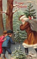 Christmas Postcard Children Find a Brown Suited Santa Claus with Toys~118240