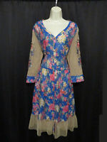 NWT Aratta Silent Journey Sheer Layering Dress Button Front Colorful Size XL NEW