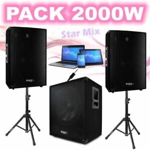 PACK SONO 2000W CUBE1512 + 2 PIEDS ENCEINTES + CÂBLE PC, ENCEINTES PA SONO DJ