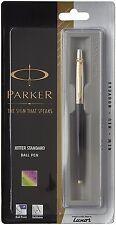 New Parker Jotter Standard GT Gold Trim Ball Point Pen Black Body Blue Ink