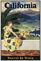 California Vintage Travel Art Print Poster Poster 12x18
