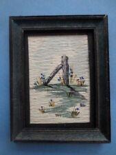MINIATURE DOLLHOUSE artisan painting watercolor landscape picture  1:12