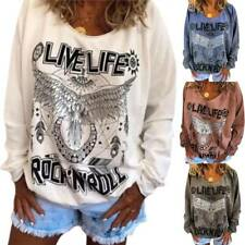 Womens Print Loose Blouse Ladies Long Sleeve Casual T Shirt Plus Size Pullover