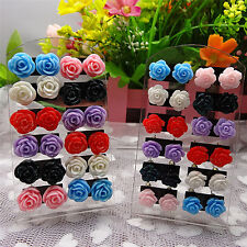 12 Pairs Rose Stud Earrings Mixed Color Flower Earrings Wholesale Jewelry Set FO