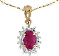 14k Yellow Gold Oval Ruby and Diamond Pendant (no chain) (CM-P1342X-07)