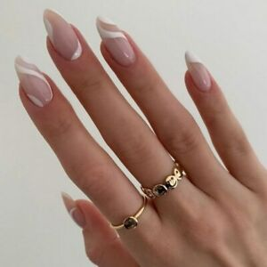 French Nude White Line Fake Nails Long Oval Full Artificial Press On Nails Tips