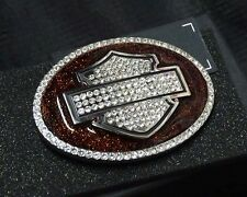 Harley-Davidson Womens Crystal B&S with Glitter Belt Buckle HDWBU10685