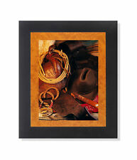 Western Saddle Rope Hat Cowboy Memorabilia Photo Wall Picture Black Framed