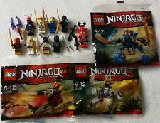 Lego Ninjago 8 Figurines ( Cole,Zane ),3 Polybags(30291 30292 30293) & Accessoir