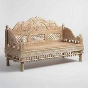 Handcrafted Solid Teak Wood Diwan, Handmade Wooden Sofa, Traditional Diwan