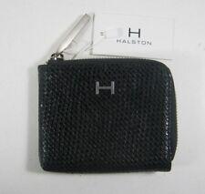 H Halston Women's Kendall Zip Corner Mini Wallet Black Woven NWT