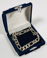 Men's Vintage Bracelet Chunky Silver Tone Curb Chain Box Clasp Smart Retro