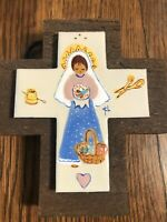 St. Clare of Assisi PATRON SAINT OF NEEDLEWORKERS Hand Painted Cross on Wood 5x5