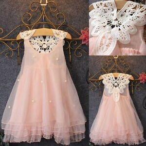 Baby Mädchen Kinder Prinzessin Party Ärmellos Hochzeit Festkleid Spitze Kleider