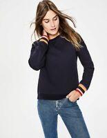 Boden Arabella Navy Blue Rainbow Striped Accent Pullover Sweatshirt Size XS