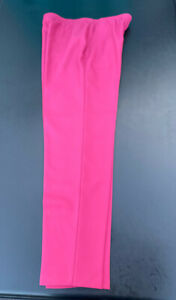 Vtg Levi Bend Over Pants Trousers Polyester Retro Wide Leg Flat Front Pink 12