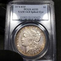 1878 8TF AU53 VAM-14.8 Spiked Eye Morgan Silver Dollar $1 PCGS, Light PL Look