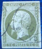 France oblitéré, n°11, 1c olive Napoléon III, empire franc, non dentelé, 1860
